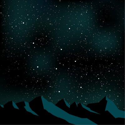 Canvastavlor Natthimlen stjärnor, bergslandskap, vektor