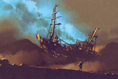 Canvastavlor nattplats övergivna fartyg i öknen med stary himmel, illustration målning