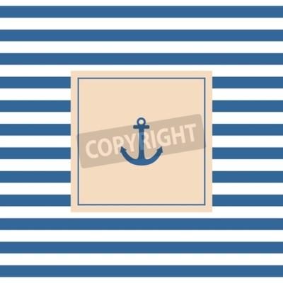 Canvastavlor Nautisk vektorkort eller inbjudan med ankarpastellfärgad bakgrund och blå vita ränder