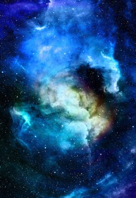 Canvastavlor Nebula, världsrymden och stjärnor, blå kosmiska abstrakt bakgrund. Delar av denna bild som tillhandahålls av NASA.