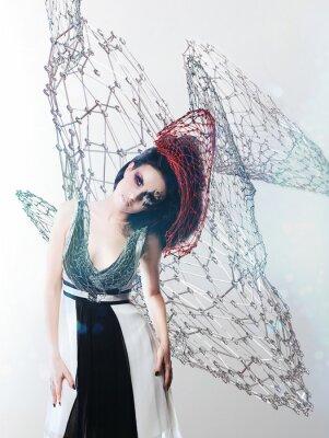 Canvastavlor netto kvinna i svartvitt klänning