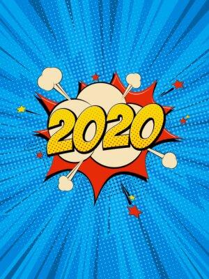 Canvastavlor New Year 2020 pop art comic background lightning blast halftone dots.