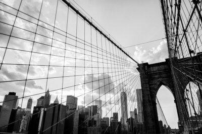 Canvastavlor New York, Brooklyn Bridge horisont svart och vitt