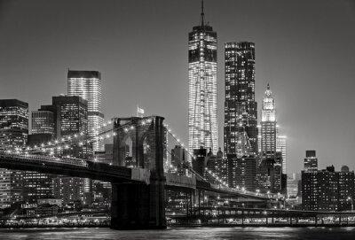 Canvastavlor New York by night. Brooklyn Bridge, Lower Manhattan - Svart en