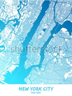 Canvastavlor New York City Center och omgivning Karta i blå skuggad version med många detaljer. Den här kartan över New York City innehåller typiska landmärken med plats för ytterligare information.