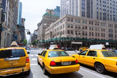 Canvastavlor New York City Manhattan Fifth Avenue 5th Av gul taxi USA