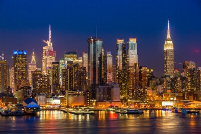 Canvastavlor New York City Manhattan Midtown byggnader skyline natt