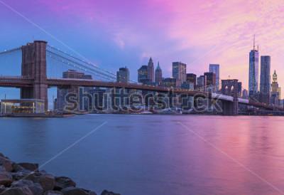 Canvastavlor New York City Manhattan panorama at sunset