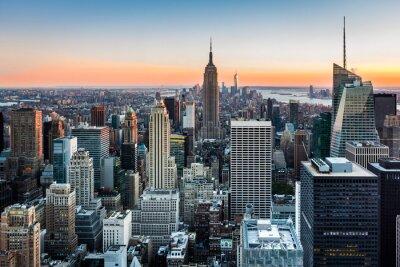 Canvastavlor New York horisont på solnedgången