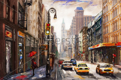 Canvastavlor New York, New York, New York, New York, New York, Kvinna Under the Red Paraply, Gul Taxi, Modern Constable, America Stad, New York