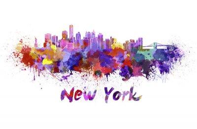 Canvastavlor New Yorks skyline i vattenfärg