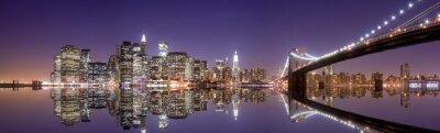 Canvastavlor New Yorks skyline och reflektion på natten