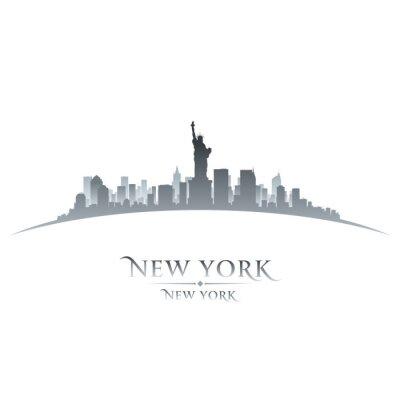 Canvastavlor New Yorks skyline silhuett vit bakgrund