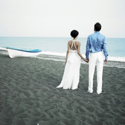 Canvastavlor Newlyweds på havet