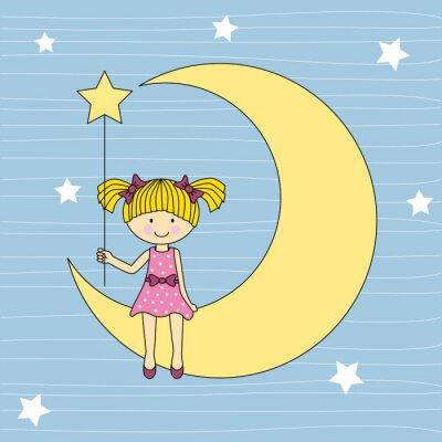 Canvastavlor Niña sentada en la luna