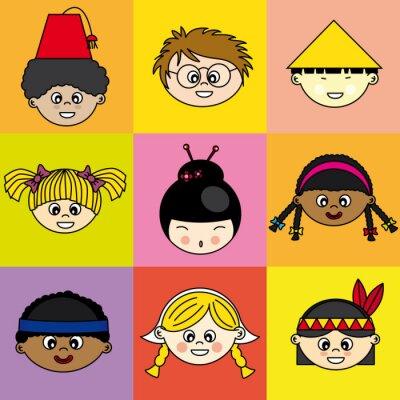 Canvastavlor Niños de diferentes Etnias
