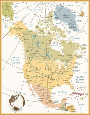 Canvastavlor Nordamerika Detaljerad karta Retro färger