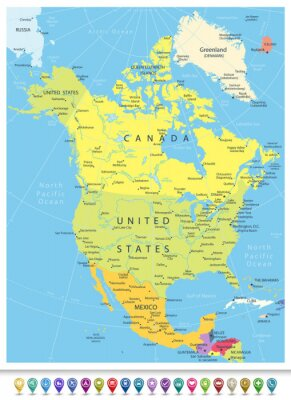 Canvastavlor Nordamerika Detaljerad Political Map med Navigation ikoner