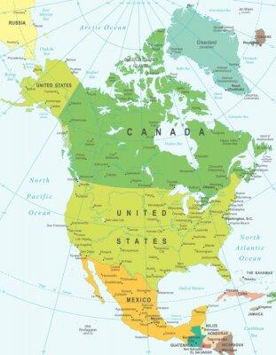 Canvastavlor Nordamerika karta - mycket detaljerade vektorillustration.