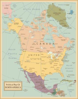 Canvastavlor Nordamerika -Mycket detaljerade map.Layers används
