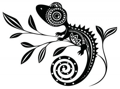 Canvastavlor Ödla på en branch.pattern. Chameleon.tattoo.