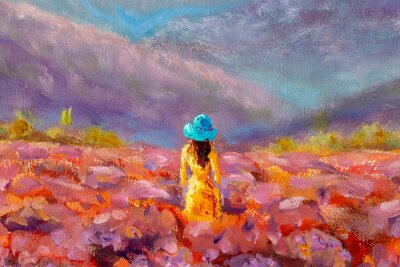 Canvastavlor Oil Painting Beautiful Girl stands with her back in a lavender pink flower field - floral French Tuscan landscape