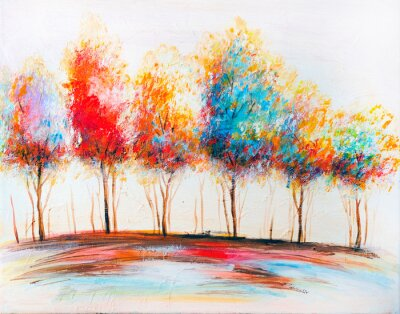 Canvastavlor Oil painting landscape, abstract colorful gold trees