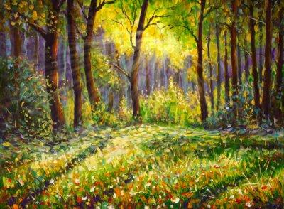 Canvastavlor Oil painting on canvas modern impressionism Sunny forest landscape