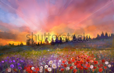 Canvastavlor Oil painting poppy, dandelion, daisy flowers in fields. Sunset meadow landscape with wildflower, hill, sky in orange and blue violet color background. Hand Paint summer floral Impressionist style