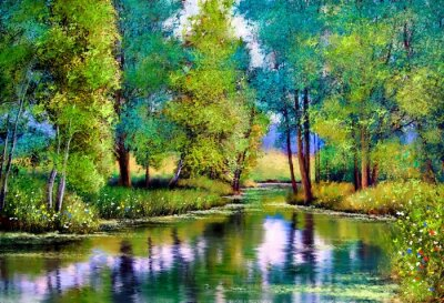 Canvastavlor Oil paintings landscape, autumn landscape with trees and lake