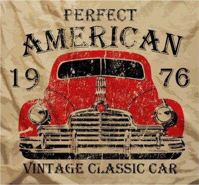 Canvastavlor Old American Car Vintage T-shirt Grafisk design