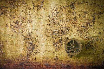 Canvastavlor Old med kompass