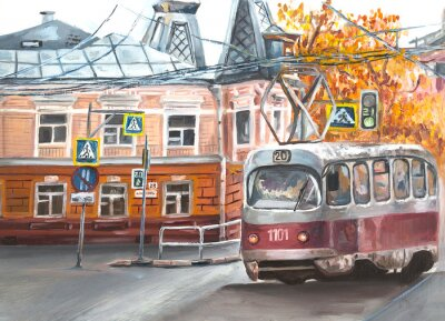 Canvastavlor Old tram, oil paintings landscape, city. Fine art. Autimn in the city.