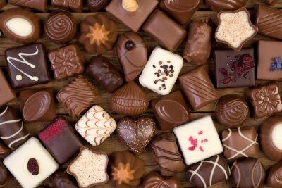 Canvastavlor Olika choklad på trä bakgrund