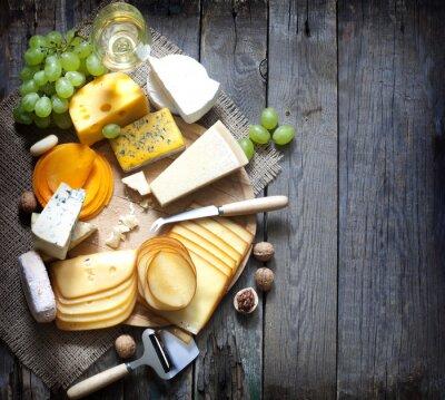 Canvastavlor Olika typer av ost med tomt utrymme bakgrund begrepp