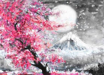 Canvastavlor olja målning landskap med Sakura och berg, handritad illustration, Japan