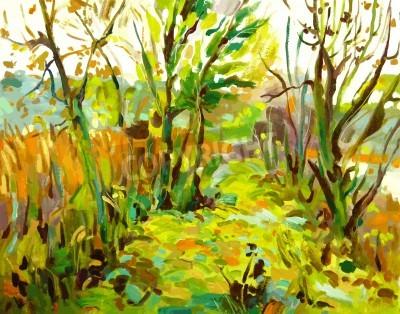 Canvastavlor Olje- målning landskap med träd