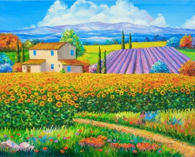 Canvastavlor Olje- målning solros och lavendelfält