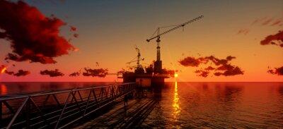 Canvastavlor Olje- och rigg plattform i solnedgång tid. Konstruktion av produktionsprocessen i havet. Effekt energi av world..3d render