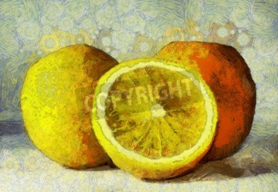 Canvastavlor Oljemålning apelsiner frukter på vit