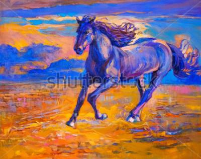 Canvastavlor Oljemålning av en löpande häst. Modern konst