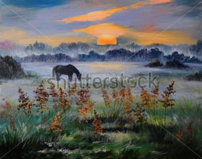 Canvastavlor Oljemålning av fält vid solnedgången