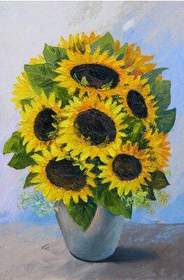 Canvastavlor Oljemålning - bukett av solrosor i en vas på ett abstrakt bakgrund, vackra blommor