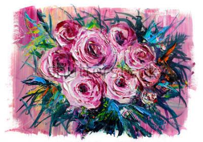 Canvastavlor Oljemålning en bukett med rosor. Impressionistisk stil.