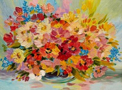 Canvastavlor Oljemålning - färgrik bukett av sommarblommor på en abstrakt bakgrund