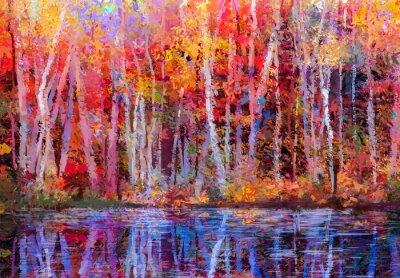 Canvastavlor Oljemålning färgrik höstträd. Halv abstrakt bild av skog, aspar med gul - röda blad och sjö. Höst, nedgångsäsong natur bakgrund. Handmålade Impressionist, utomhus landskap