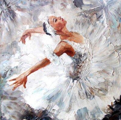 Canvastavlor oljemålning, flicka ballerina. dras söt ballerina dansar