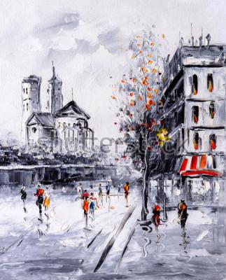 Canvastavlor Oljemålning - Gatuvy i Paris