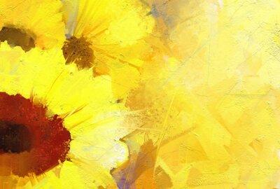 Canvastavlor Oljemålning guld- solros bakgrund.