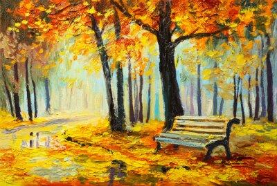 Canvastavlor Oljemålning landskap - färgrik höstskog